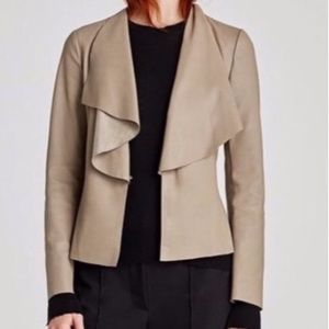 NEW ZARA Light Taupe Faux Leather Jacket